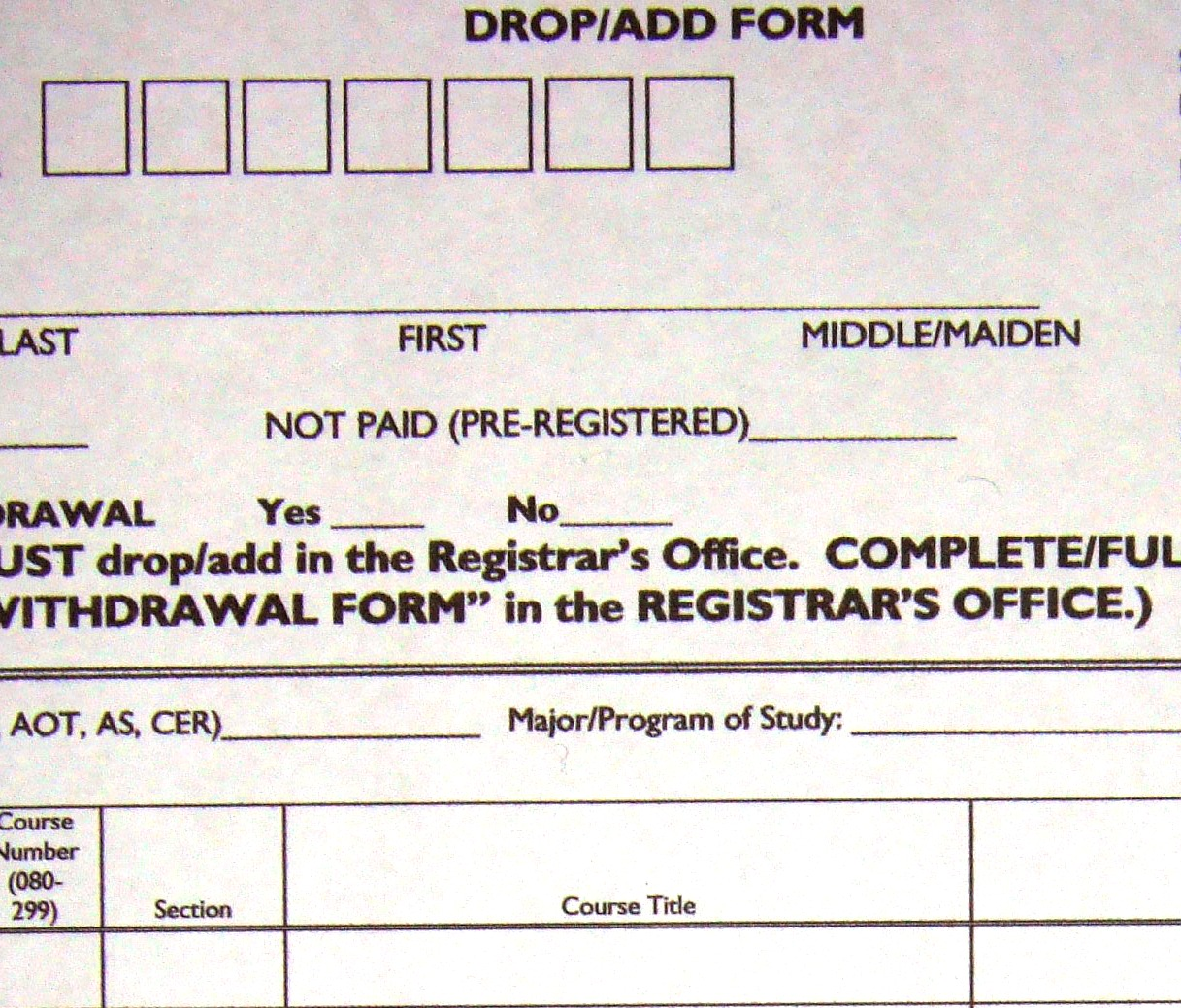 drop/add forms   One Time, One Meeting